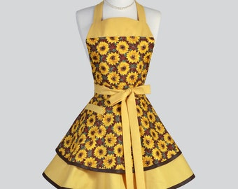 Ruffled Retro Apron - Fall Sunflowers in Golden Yellow and Brown Kitchen Apron Ideal to Personalize or Monogram