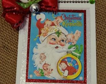 Vintage Santa and Kewpie Dolls Handmade Christmas Card / Retro / Gorgeous / Gift Card Holder / 3 Day Ship
