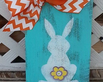 Rabbit Bunny Butt Wood Sign / Turquoise / Old Barn Wood Sign / Shabby Chic Easter Spring Decor / SEE VOLUME DISCOUNT  / Ships in 1-2 Days