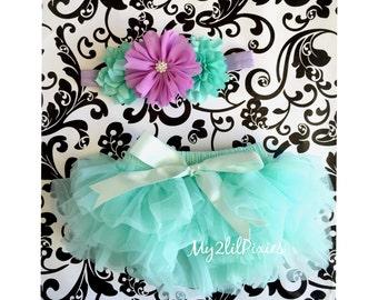 BLOOMER and HEADBAND Set-Baby Girl Set- Baby Ruffle Bloomer, Newborn Bloomer , ruffle diaper cover,headbands, Baby bloomer, Bloomers