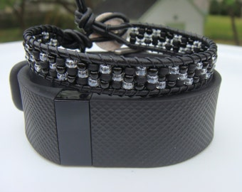 Fitbit Bling Bracelet Beaded Leather Bracelet