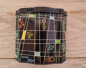 Sweet Midcentury Lidded Tin Black with Geometric Pattern