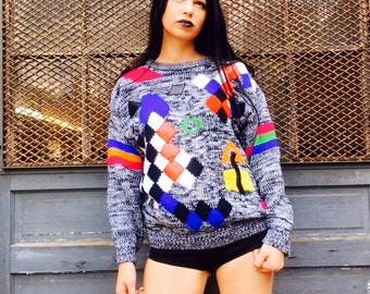 Oversized Colorblock Hand Knit Sweater