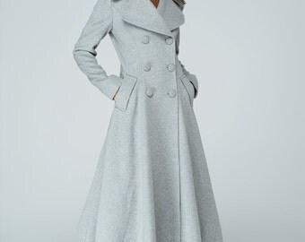 Maxi coat, plus size coat, swing coat, trench coat, gray coat, wool coat, winter jacket, double breasted coat, pleated coat,gift for her1606