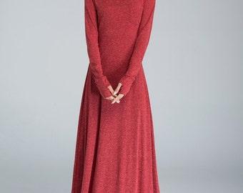 knit dress, long dress, fall dress, casual dress, red dress, handmade knit dress, elegant dress, knitwear, casual chic, plus size dress 1619