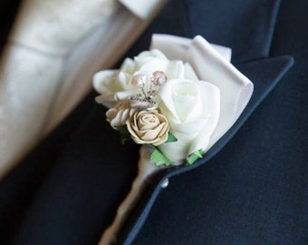 Rustic buttonhole, Gents buttonhole, buttoneire, wedding buttonhole, groom flowers, artificial flowers, groom candy, suit accessories