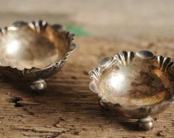 graceful antique sterling salt cellars, 1800s salt dishes