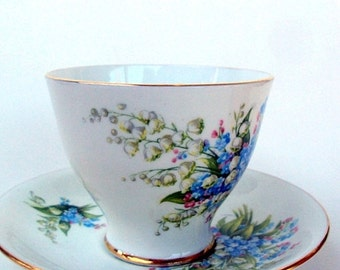 VALENTINES SALE Vintage Bone China Cup and Saucer, Clarence England, Staffordshire Potteries, Crown Windsor, 1940s, Dining Serving, Tea/Coff