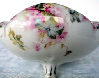 Antique Bauer Rosenthal &Co,Porcelain Centerpiece Footed Bowl,1890s,Bavaria Germany,Dining Serving,Floral Pattern,Rolled Edge,Heirloom