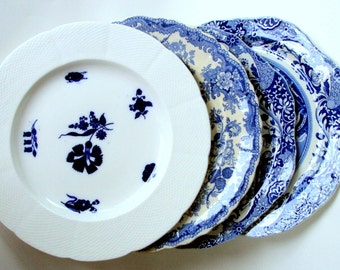 Antique English Blue & White China Plate Collection,1830s-1920s,Spode Italian,Coalport 1750,John Rogers Athens,Dining Serving,Set of 4