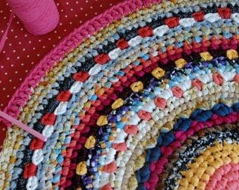 Giant Doily Rug, Colorful Crochet Rug, 1.4m 4.6 ft,  Large mandala rug
