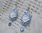 White Cottage Rose Cameo Earrings, Something Blue, White & Blue Rose Cameo earrings, Floral Earrings, Flower, blue heart crystal, Peace Rose