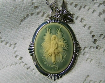 Angel Fairy Necklace, Green and Cream Fairy Cameo Necklace, Floating Fairy, The Angel Faerie Pendant, Woodland Nymph Faerie, Celtic Fairy