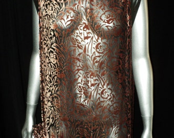 1920's Voided Velvet Dress Unique Style Open Sleeves Art Deco Period Wearable Collectible Black Chiffon Historical
