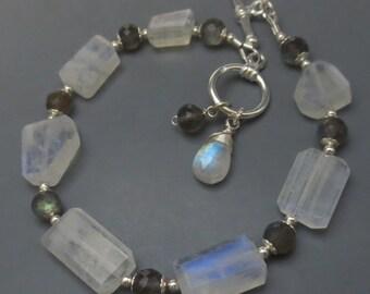 Rainbow Moonstone Labradorite Sterling Silver Toggle Bracelet EE Designs