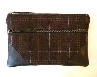 Large Zipper Clutch  Chocolate Wool Plaid and Leather