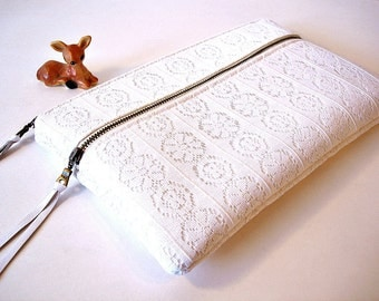 White Vintage Lace Double Zipper Clutch Bridal Clutch