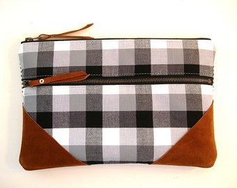 Large Zipper Clutch Black and White Gingham and Leather
