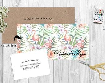 Sewn Modern Tropical Floral Flamingo Wedding Invitation Set