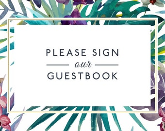 Guest Book Sign Matching Tropical Set Instant Download
