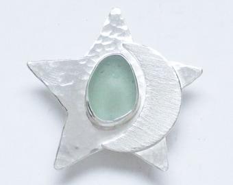 Sea Glass Jewelry - Sterling Sea Foam Sea Glass Moon & Star pendant