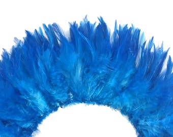Rooster Feathers, 4 Inch Strip - TURQUOISE BLUE Strung Chinese Rooster Saddles Feathers : 606
