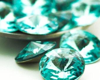 4 - Swarovski Light Turquoise 12mm Rivoli Beads - 100% Guarantee