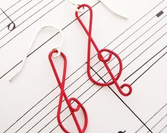 Half Price SALE -  And On That Note Colorful G Clef Earrings in YOUR CHOICE of Colors - Made To Order