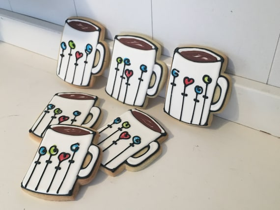 Coffee Mug Hand Decorated Sugar Cookies with Flowers - 1 Dozen