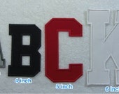4 Inch College/Varsity Letter/Monogram Fabric Embroidered Iron On Applique Patch MADE TO ORDER