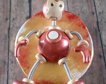 Iron Bot MINI WALL ART 3D Robot Sculpture - Clay, Wood, Wire