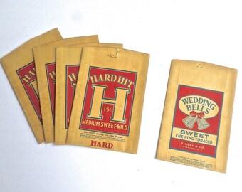 Vintage Paper Tobacco Bag, Hard Hit Chewing Tobacco Bag, Wedding Bells Tobacco Bag, Tobacciana, Tobacco Advertising, Smoking Ephemera