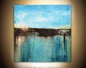 Large Square Painting Original Abstract Art Modern Textured Oil Painting Blue and Coffee Gloss Painting 36x36 by Sky Whitman