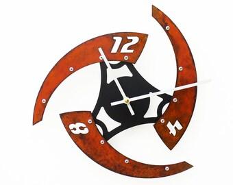 Sweep IV, Medium, Rustic Wall Clock, Unique Wall Clock, Industrial Clock, Modern Wall Clock, Steampunk Wall Art, Metal Home Decor, Laser Cut