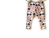 Baby leggings, baby clothes, Organic Knit in pink pandas
