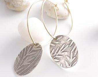 Patterned Silver Discs on Gold Hoop Earrings