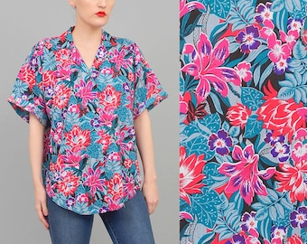 20% off SALE Vintage Colorful 80s Floral Print Shirt Tropical Vacation Short Sleeve 1980s Button Up Blouse Small Medium S M