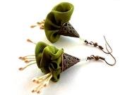 LetsPartySale Festive silk flower earrings, her gift flower earrings, elegant light flower earrings, olive fabric flower earrings