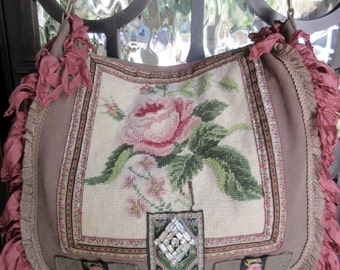 RESERVED on LAYAWAY.....Canvas Army Messenger Bag, Vintage Applique, Vintage Needlepoint, Rhinestone Brooch, Rose