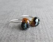Black Caramel Glass Hoops, Small Wire Earrings, Lampwork Hoop Earrings, Multicolored Glass Earrings, Sterling Silver Handmade Earrings