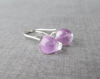 Lavender Dangle Earrings, Small Purple Earrings, Lavender Glass Drop Earrings, Lampwork Earrings Light Purple, Sterling Silver Wire Earrings