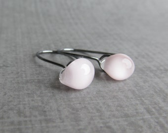 Small Blush Pink Dangles, Pale Pink Earrings, Lampwork Earrings Pink, Small Wire Dangle Earrings, Small Dangles, Oxidized Sterling Silver