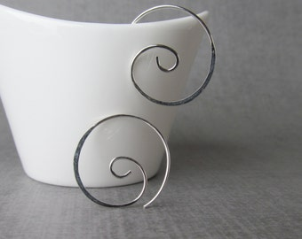 Modern Spiral Earrings, Spiral Hoops, Small Swirl Earrings, Minimalist Spiral, Small Spiral Wire Earrings, Sterling Silver Earrings