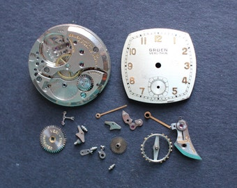 Vintage Watchmakers Tin Filled With Vintage Gruen Watch Parts WT4