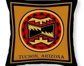 Southwest Tucson Arizona Tribal Indian Printed Tote Bag -  Tribal Throw Pillow - Southwest Decor - Native American Pillow - Tribal Tote Bag