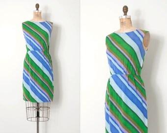 vintage 1960s dress / striped linen 60s dress / Diagonally Yours