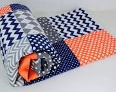 Baby Boy Blanket, Nursery Decor, Minky Blanket, Crib Blanket, Chevron Nursery, Navy Blue, Orange, Gray, Grey, Steel, Charcoal, Chevron