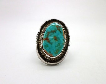 Ring of Turquoise and Sterling Silver Native American Style Ring Marked MP Gorgeous