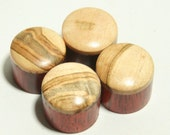 Set of 4 Bloodwood Guitar Knobs with Spalted Maple Cap (7/8 inch dia x 11/16 height)