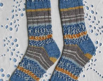 Hand Knit Socks Women Medium Size, Blue Yellow, Superwash Opal Wool Yarn
